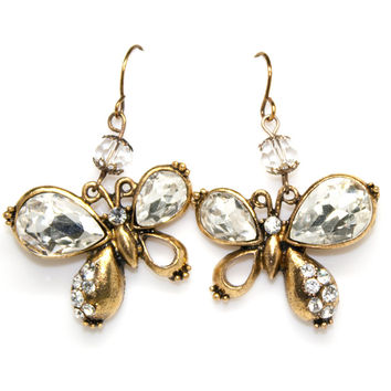 antiqued gold clear crystal butterfly earrings