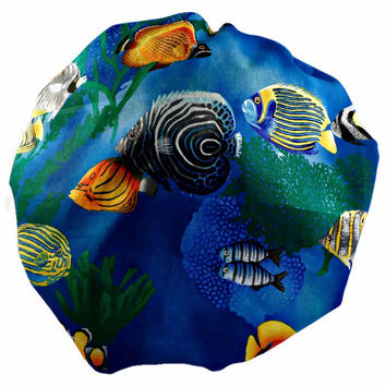 Women's Bouffant, Pixie, or Ponytail Surgical Scrub Hat Cap in Tropical Fish