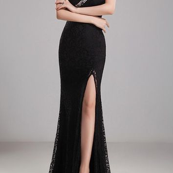Black Patchwork Sequin Mermaid Asymmetric Shoulder Draped Slit Elegant Maxi Dress