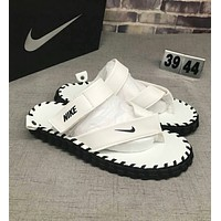 NIKE Popular Women Men Casual Solid Color Flats Slipper Sandals Shoes White I-CSXY