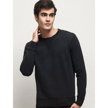 Men's Casual Solid Color Fleece Lined Hoodies O-neck Long-sleeved T-shirt