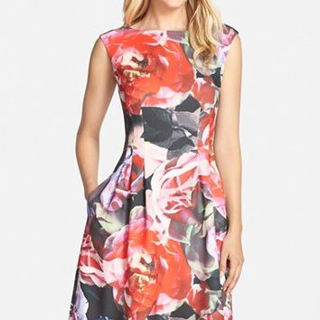 Women's Vince Camuto Floral Print Scuba Fit & Flare Dress,