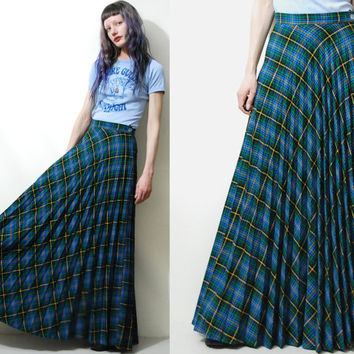70s Vintage TARTAN Skirt Long Maxi Highwaisted PLEATED Plaid Check Hippie Green Blue Bohemian Preppy 1970s vtg XS S