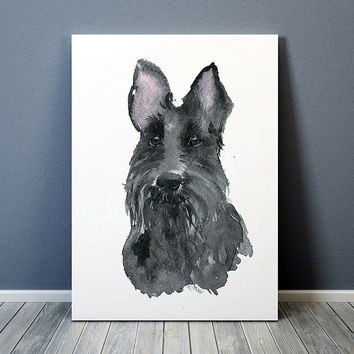 Watercolor dog print Scottish terrier poster Cute nursery decor ACW126