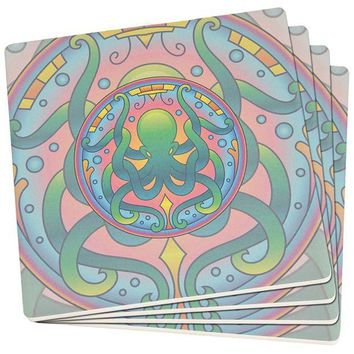 DCCKJY1 Mandala Trippy Stained Glass Octopus Set of 4 Square SandsTone Art Coasters