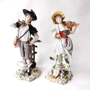 A Pair of Sitzendorf Figures The Gardener and His Lady / German Porcelain Figurines, Quality Home Decor / Collectible Cabinet Pieces