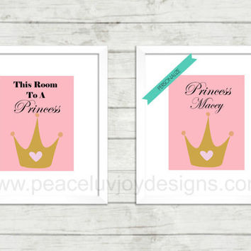 Custom Princess Prints, Wall Art Duo, Instant Download, Birthday Gift, Christmas Gift, Nursery, Table Top, Custom Wall Printable, Custom Art