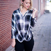 Black Plaid High Low Top
