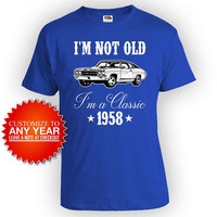 Funny Birthday Shirt 60th Bday Gifts For Men Custom Year Personalized T Shirt For Him I'm Not Old I'm A Classic 1958 Birthday Mens Tee-BG567