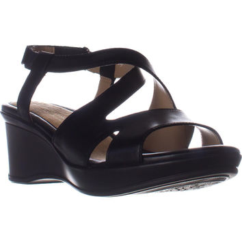 naturalizer Villette Slip On Wedge Sandals - Black