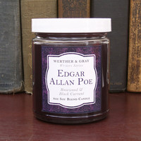 EDGAR ALLAN POE Candle, 8oz Soy Blend, Scented Candle, Rosewood & Black Currant, Writers Series, Victorian Literary Gift, Goth Gothic Candle