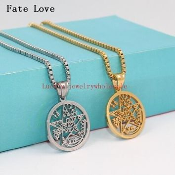 Fate Love women Men New Pentagram Pendant Amulet Gold Stainless Steel Magic Gothic Jewelry with Box Link Chain satanic worship