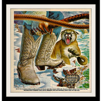 "1982 Nocona Western Boots Ad ""Snow Cougar Art"" Vintage Advertisement Print"