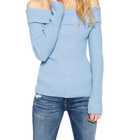 Off Shoulder Sweater in Blue