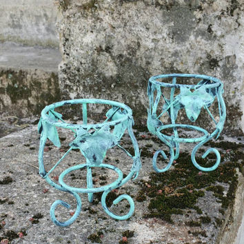 French Country Wrought-iron Candle Holders, Outdoor Decor Set