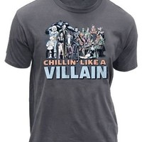 Junk Food DC Comics Chillin Like a Villian Adult Charcoal T-Shirt - DC Comics - | TV Store Online