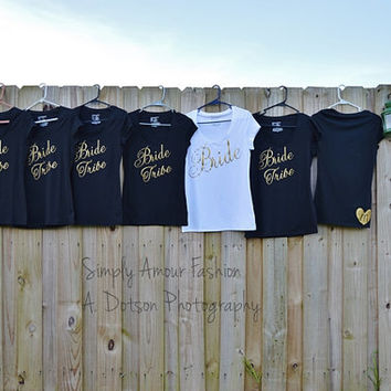 Bride Tribe Bridesmaids and Bride t-shirt set/ Bridesmaids/ Bride/ Bridal Party/ Wedding/ Bachelorette Party