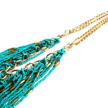 """Turquoise Dream"" Gold Necklace With Turquoise Bead Accents"