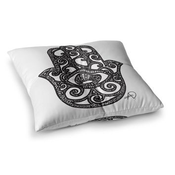 "Adriana De Leon ""Hamsa Hand"" Black White Square Floor Pillow"