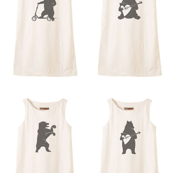 Bear is playing music and driving Printed Vintage Linen Mini Shift Dress WDS_01