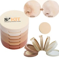 5in1 Makeup Natural Pressed Powder Face Contour Shading Concealer Palette Foundation + Puff Cosmetic Professional