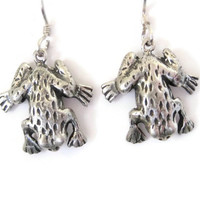 Sterling Frog Dangle Earrings
