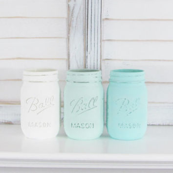 Table Decor, Painted Jars, Mason Jars, Rustic Decor, Shabby Chic, Distressed, Party Decor, Set of 3 Jars, Party Centerpiece, Baby Shower