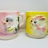 Fairy Tale Mugs Children Cups Vintage Japan Ceramic Raised Relief Duck Rabbit