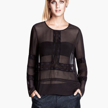 Lace Patchwork Long Sleeve Chiffon Top