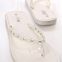 White Faux Leather Bead Woven Thong Strap Slip On Foam Sandals