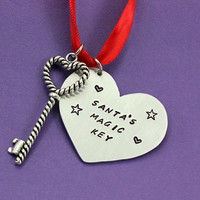 Santa's Magic Key Ornament - Handstamped Christmas Ornament - Christmas Decoration - Engraved Christmas Ornament - Gift - Keepsake