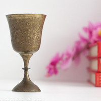 Kiddush Cup Bronze Goblet: Vintage Wine Cup, Chalice, Judaica