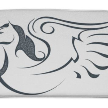 Bath Mat, Grunge Sketch Of A Flying Pegasus Isolated On White