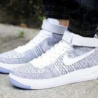 Nike Air Force 1 Flyknit Mid High 817420 103 Grey For Women Men Sneakers