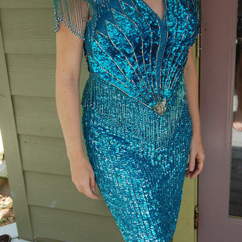 Vintage Alyce Designs Sequined Silk Flapper Great Gatsby 20s Deco Inspired Aqua & Silver Beaded Fringed Dress Size 10