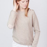 Cashmere Pineapple Elbow Patch Sweater