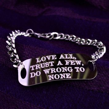 Silver ID bracelet  engraved quote  by UntamedMenagerie on Etsy