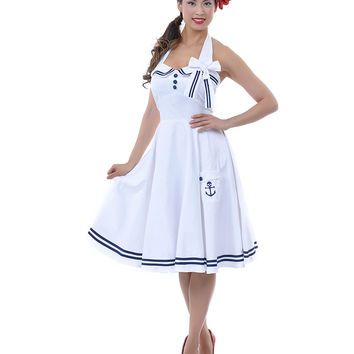 Hell Bunny White & Navy Anchor Halter Motley Dress - Unique Vintage - Prom dresses, retro dresses, retro swimsuits.