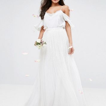 ASOS Wedding Embellished Maxi Tulle Skirt at asos.com