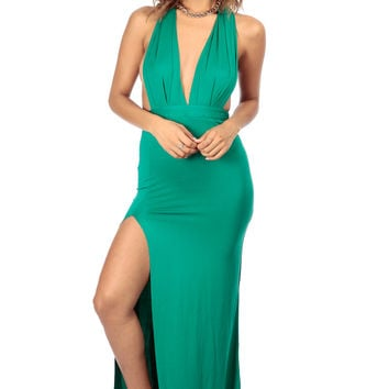 Emerald Front Slit Halter Maxi Dress