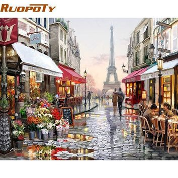Paris Street DIY Painting By Numbers Handpainted Canvas Painting Home Wall Art Picture For Living Room Unique Gift 40X50