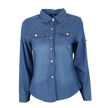 Women Lapel Button Blue Down Denim Jean Shirt Pocket Slim Top Blouse Blusa (it is Small Size one )