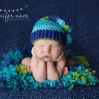 Aquamarine top knot hat and curly mini blanket - blue, green, teal, aqua stripes