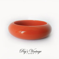 Vintage Orange Lucite Bangle Bracelet, Wide Lucite Bracelet, Chunky 1960's Bracelet