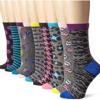 Betsey Johnson Women's Closet Crew Sock Gift Box 9 Pack, Multi, 9-11