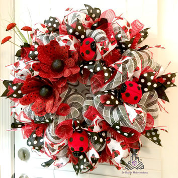 Lady Bug Deco Mesh Wreath