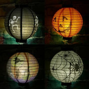Halloween Decoration LED Paper Pumpkin Light Props Hanging Lantern Lamp Halloween Outdoor Decoration Party Supplies