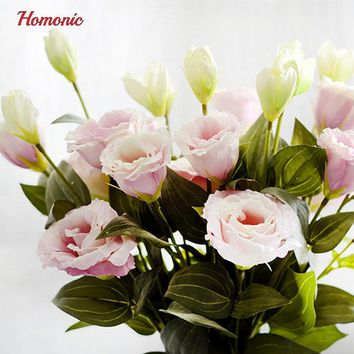 5PC European Artificial Flower 3 Heads Fake Eustoma Gradiflorus Lisianthus Christmas Wedding Party Home Decorative 5 Colours