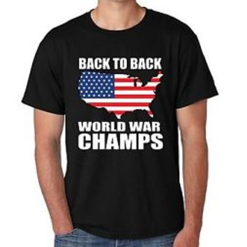 Men's Tee Shirt Back To Back World War Champs 4th Of July Party Shirt