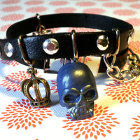 Skull Black Leather Bracelet Wrap Around Bracelet